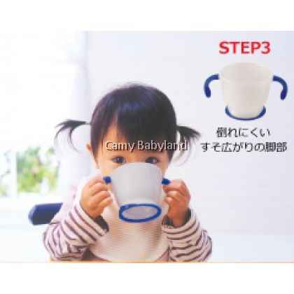 Richell AQ Straw Training Mug 150ml (Navy Blue) - First Step Soft Straw Cup (from 6 months)