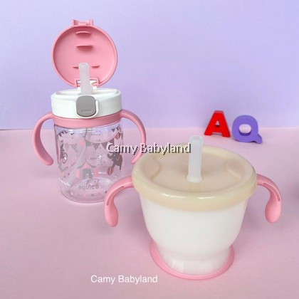 RICHELL AQ CLEAR STRAW MUG SET (PINK) - Training Soft Straw bottles set (from 6 months)