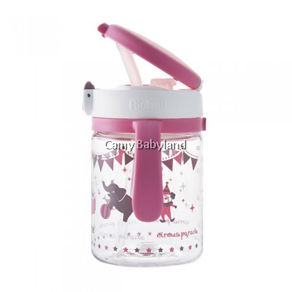 Richell AQ Clear Straw Mug 200ml (Pink) - Non Spill Straw Bottle with Handles (from 7 months)