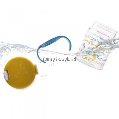 Richell AQ Clear Straw Mug 200ml (Yellow) - Non Spill Straw Bottle with Handles (from 7 months)