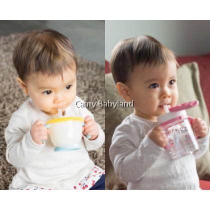 RICHELL AQ CLEAR STRAW MUG SET  (YELLOW) - Training Soft Straw bottles set (from 6 months)