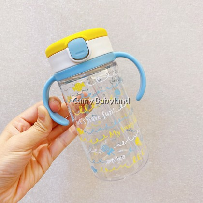 Richell AQ Clear Straw Mug 320ml (Yellow) Spill Proof Straw Cup with Removable Handles (from 7 months)