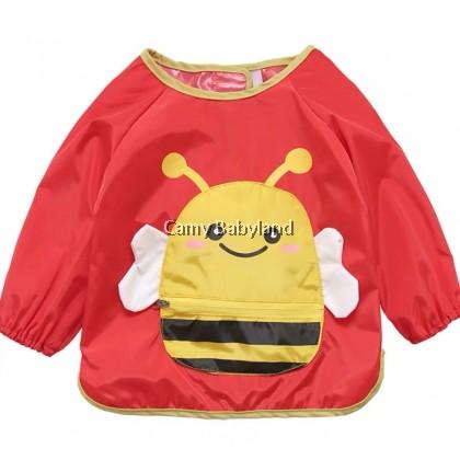 Earth Bebe - Waterproof Bib With Sleeve (Red Bee)