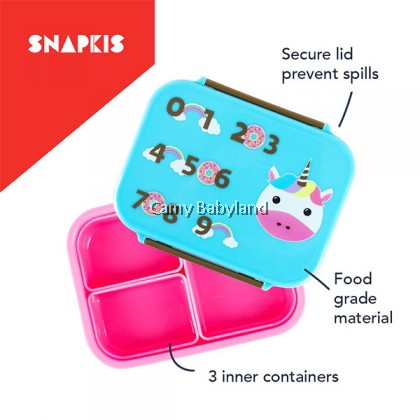 Snapkis Lunch Box (Unicorn) - BPA Free 3 inner compartments with secure lid