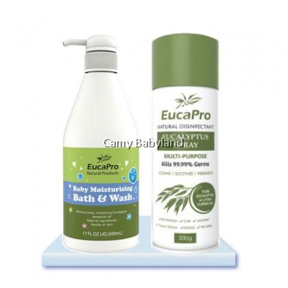 Eucapro - Baby Moisturising Bath & Wash (500ml) + Eucalyptus Spray (200g) VALUE PACK