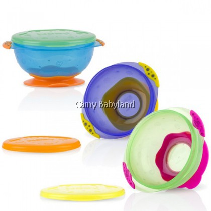 Nuby - Stackable Suction Bowls With Lid (3pcs)
