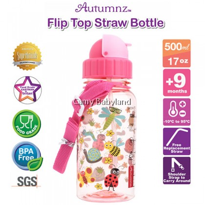 Autumnz - Flip Top Straw Bottle (17oz/500ml) - Garden Of Dreams