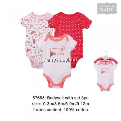 Hudson Baby - 3 Piece Bodysuits Set For Girl (Pink Flower)