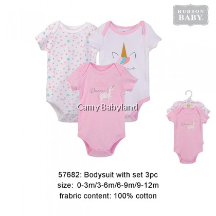 Hudson Baby - 3 Piece Bodysuits Set For Girl (Pink Unicorn)