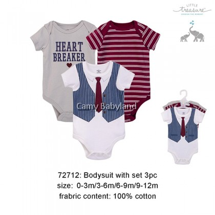 Little Treasure - 3 Piece Bodysuits Set For Boy (Heart Breaker)