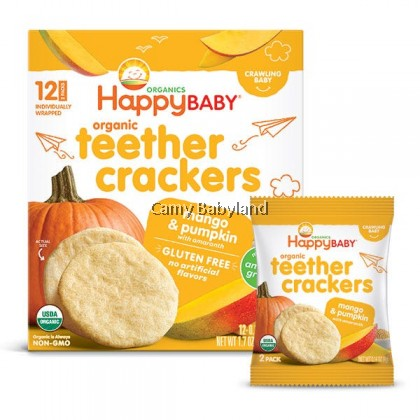 Happy Baby Organic Teether Crackers - Mango & Pumpkin With Amaranth (4g x 6 packs)