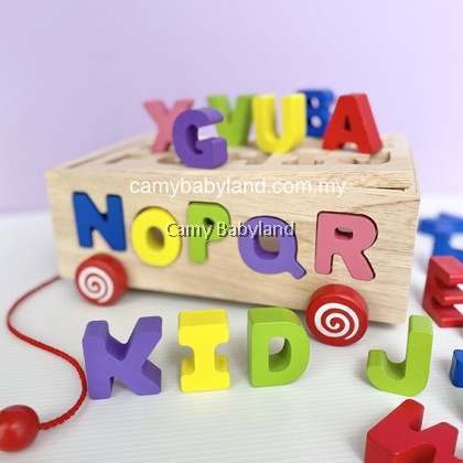 Educational Children Pulling Toy Car Wooden ABC