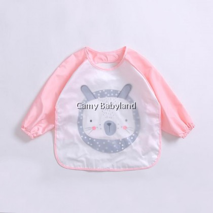Earth Bebe - Waterproof Bib With Sleeve (Pink Bear)