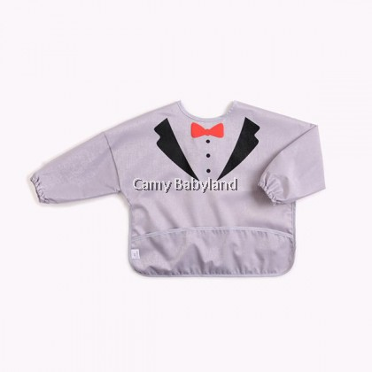 Earth Bebe - Waterproof Bib With Sleeve (Grey Bowtie)