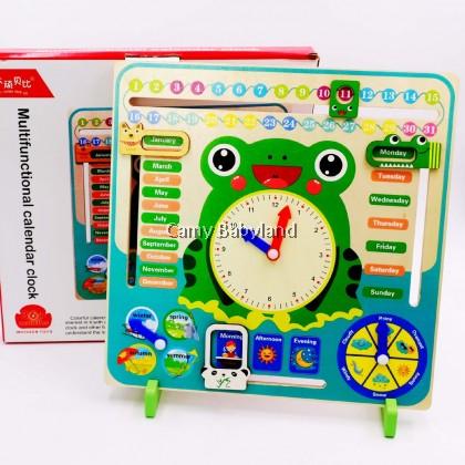 7-in-1 Multi-functional Learning Vertical Calendar Clock Wooden