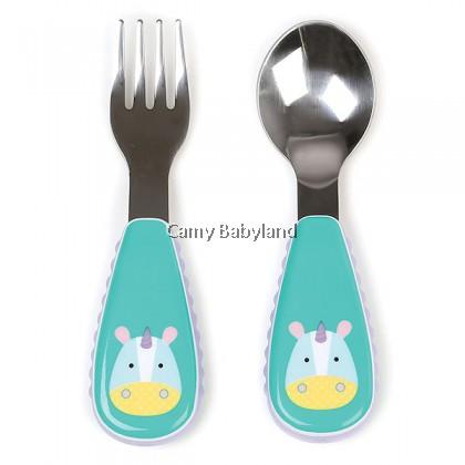 Skip Hop - Zootensils Fork & Spoon Set (Eureka Unicorn) - 12m+/BPA Free/Stainless Steel
