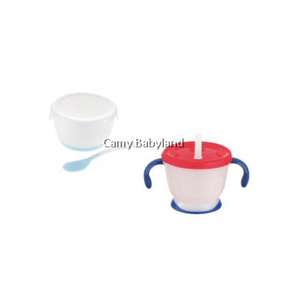 Richell - AQ Straw Training Mug (150ml) & Weaning Starter Cup Set (Navy Blue) - Baby Straw Learning Cup BPA Free