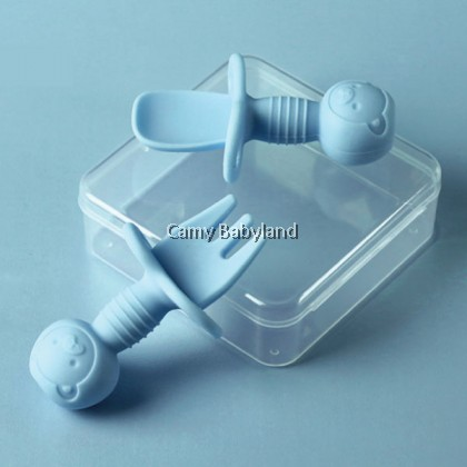 OohLala - First Self-Feeding Baby Silicone Fork and Spoon with case 6mth+ (BPA Free, Anti-Choke)