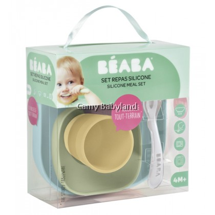 Beaba - Silicone 4pcs Meal Set With Suction Pad (4m+) - MACAROON