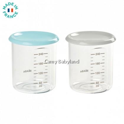 Beaba - Baby Portion Tritan 240ml (2pcs/set) Light Blue & Grey - Baby Food Storage Jar