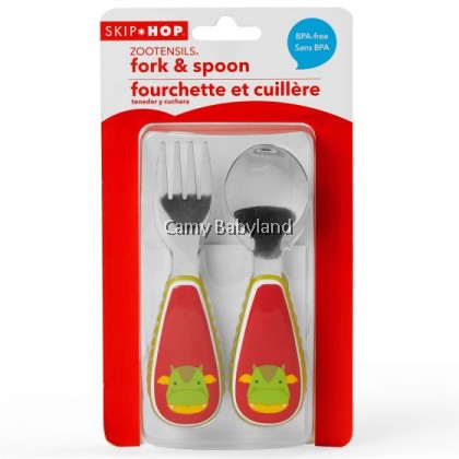 Skip Hop - Zootensils Fork & Spoon Set (Dillon Dragon) - 12m+/BPA Free/Stainless Steel