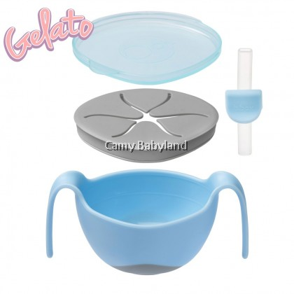 B.Box - Bowl + Straw (Assorted Colours) - 3 in 1 Bowl With Lid, Straw & Snack Insert/6m+/BPA Free
