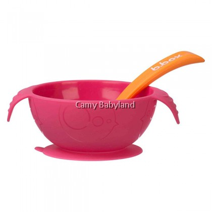B.Box - Silicone First Feeding Set (Strawberry Shake) - Silicone Suction Bowl & Spoon/6m+/BPA Free