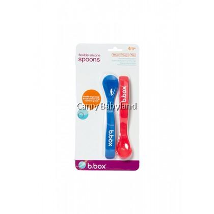 B.Box - Flexible Silicone Spoons 2pcs (Red/Blue) - 4m+/BPA Free