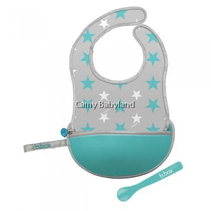 B.Box - Travel Bib + Silicone Spoon (Assorted Designs) - 4m+/BPA Free/Machine Washable