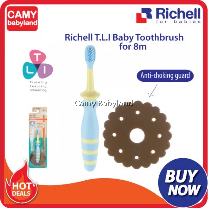 Richell - T.L.I Baby Toothbrush With Anti-Choking Guard (From 8 Months Onwards)