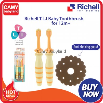 Richell - T.L.I Easy Grip Baby Toothbrush from (2pcs) - Orange (From 12 Months Onwards)