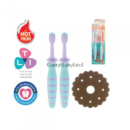 Richell - T.L.I Easy Grip Baby Toothbrush from (2pcs) - Blue (From 12 Months Onwards)