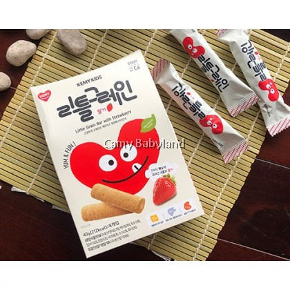 Kemy Kids - Little Grain Bar 40g (5g x 8ea) Strawberry - Finger Snack Food For Baby & Toddler Suitable From 9mths+