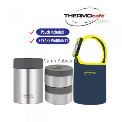 Thermos - Thermocafe Original Food Containers (930ml) 2 Lidded Compartments with Pouch