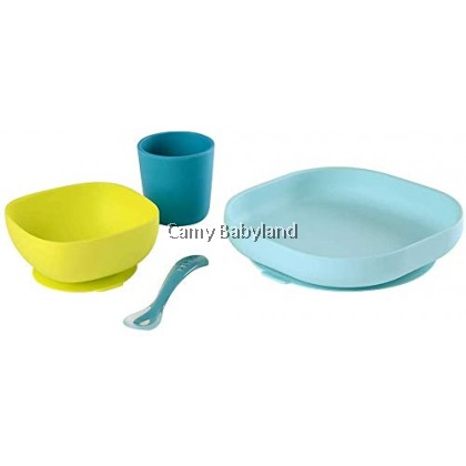 Beaba - Silicone 4pcs Meal Set With Suction Pad (4m+) - PEACOCK