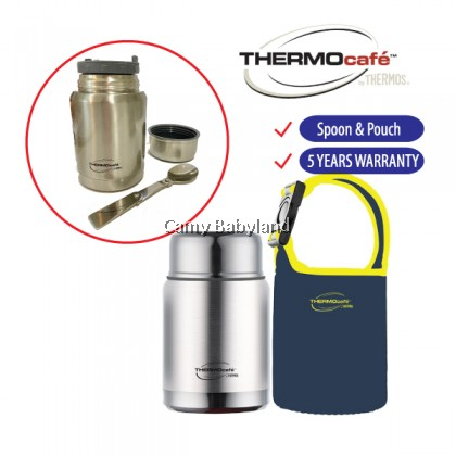 Thermos - Thermocafe Stainless Steel Double Wall Food Jar (0.5L) With Spoon & Pouch