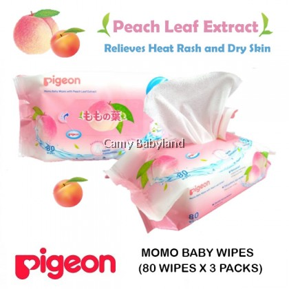 Pigeon - Momo Baby Wipes With Peach Leaf Extract (80 wipes x 3 packs)