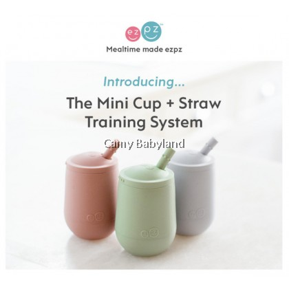EZPZ - Mini Cup + Straw Training System (4oz) - 100% BPA Free Silicone, 12 months+, Assorted Colours