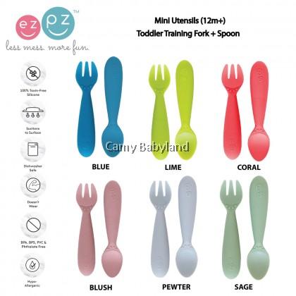 EZPZ - Mini Utensils (2 Pack) - 100% BPA Free Silicone Toddler Training Fork + Spoon, 12 months+