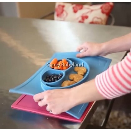 EZPZ - The Happy Mat (Pewter) - 100% BPA Free Silicone Suction Placemat + Plate In One, 24 months+