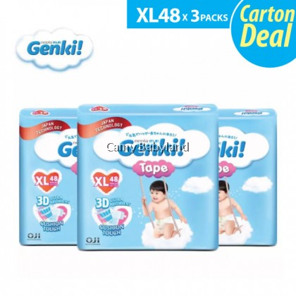 Genki - Baby Disposable Diapers - TAPE (Assorted Sizes) - Carton Pack Of 3