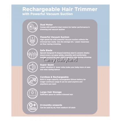 Autumnz Rechargeable Hair Trimmer (for 0+ months onward) - with Powerful Vacuum Suction